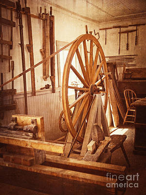 Photograph - Old Wooden Treadle Lathe And Tools Vintage by Lee Craig