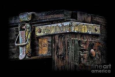 Photograph - Old Wooden Trunk Hardware 2 by Walt Foegelle