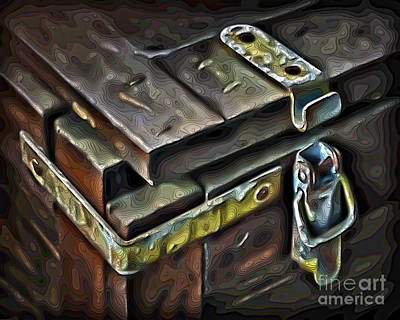 Digital Art - Old Wooden Trunk Hardware Digital Art by Walt Foegelle
