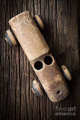 Photograph - Old Wooden Vintage Toy Car by Edward Fielding