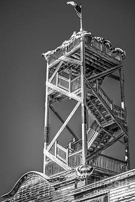 Red White And Blue Photograph - Old Wooden Watchtower Key West - Black And White by Ian Monk