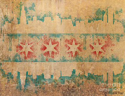 Chicago Skyline Digital Art - Old World Chicago Flag by Mike Maher