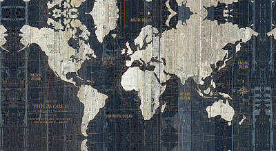 Maps Painting - Old World Map Blue by Wild Apple Portfolio