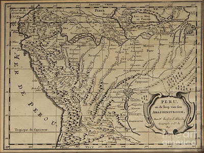 Old World Map Of Peru Art Print by Inspired Nature Photography Fine Art Photography