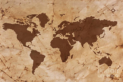 Antique Map Digital Art - Old World Map On Creased And Stained Parchment Paper by Richard Thomas