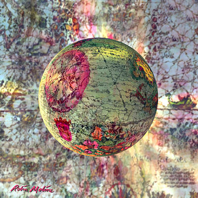 Abstract Map Digital Art - Old World Poppling by Robin Moline
