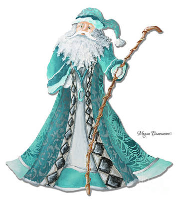 Old World Style Turquoise Aqua Teal Santa Claus Christmas Art By Megan Duncanson Art Print by Megan Duncanson