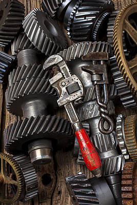 Handcrafted Photograph - Old Wrenches On Gears by Garry Gay