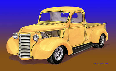 Painting - Old Yeller Pickem Up Truck by Jack Pumphrey