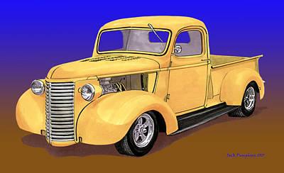 Old Yeller Pickem Up Truck Art Print by Jack Pumphrey