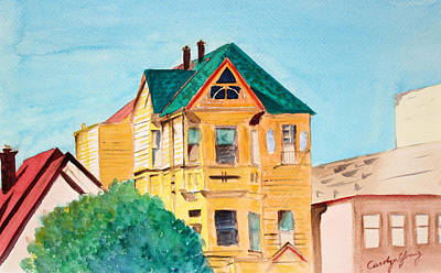 Painting - Old Yellow House In Downtown Oakland by Asha Carolyn Young
