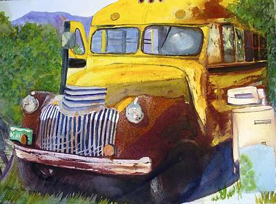 Old School Bus Painting - Old Yellow by Mary Gorman