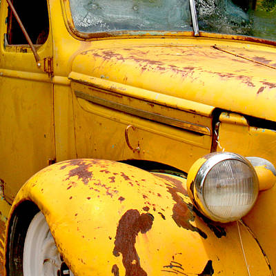 Transportation Photograph - Old Yellow Truck by Art Block Collections