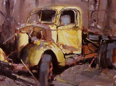 Old Yellow Truck Art Print by David Simons