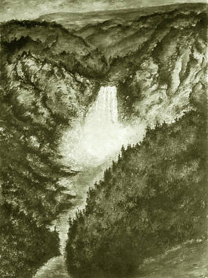 Vintage Painting - Yellowstone Falls - Fine Art by Art America Online Gallery