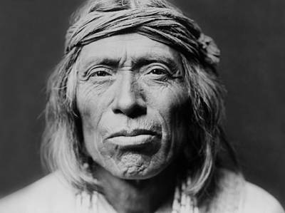 Portrait Photograph - Old Zuni Man Circa 1903 by Aged Pixel