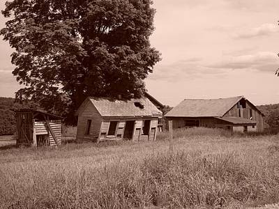 Old Barn Drawing - Olde Homestead - Sepia by James Preston