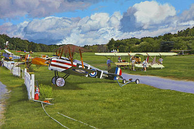 Historic Aviation Painting - Olde Rhinebeck Aerodrome by Kenneth Young