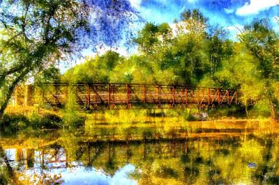 Little Red River Digital Art - Olde Rope Mill Bridge by Daniel Eskridge