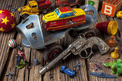 Marble Photograph - Older Roller Skate And Toys by Garry Gay