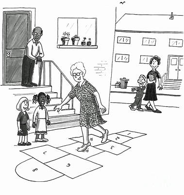 Hop Drawing - Older Woman Skips Playing Hopscotch With Kids by Lee Serenethos