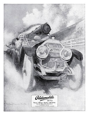 Motorcar Drawing - Olds Motor Works 1910 Oldsmobile Advertisement by Vintage Product Ads