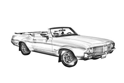 Photograph - Oldsmobile Cutlass Supreme Muscle Car Illustration by Keith Webber Jr