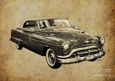 Handmade Drawing - Oldsmobile by Pablo Franchi