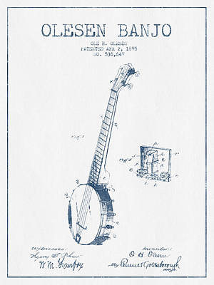 Banjo Drawing - Olesen Banjo Patent Drawing From 1895 - Blue Ink by Aged Pixel