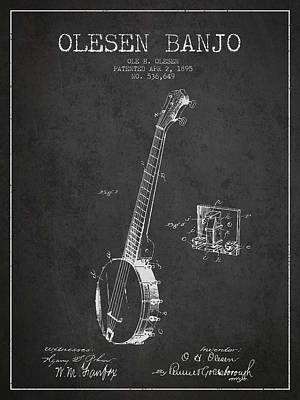 Olesen Banjo Patent Drawing From 1895 - Dark Art Print by Aged Pixel