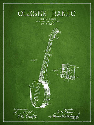 Olesen Banjo Patent Drawing From 1895 - Green Art Print by Aged Pixel