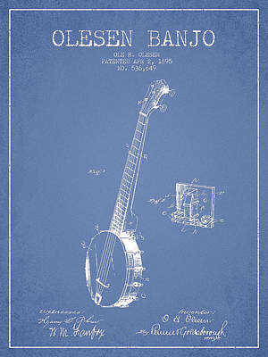Olesen Banjo Patent Drawing From 1895 -light Blue Art Print by Aged Pixel