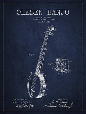 Olesen Banjo Patent Drawing From 1895 - Navy Blue Art Print by Aged Pixel