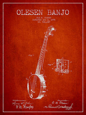 Olesen Banjo Patent Drawing From 1895 - Red Art Print by Aged Pixel