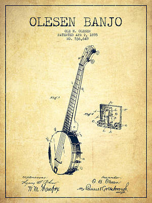 Olesen Banjo Patent Drawing From 1895 - Vintage Art Print by Aged Pixel