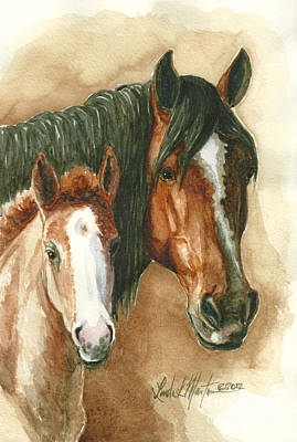 Mustang A Day Challenge Painting - Olga And Mimi by Linda L Martin