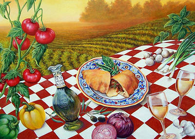 Italian Wine Painting - Olio De Oliva by Glenda Stevens