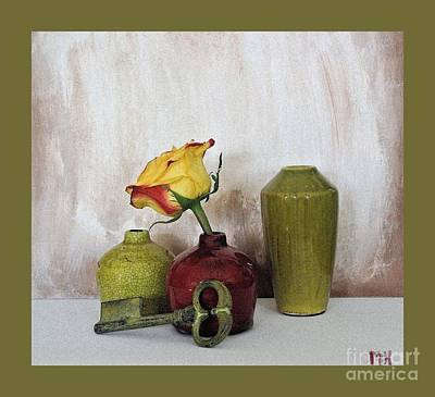 Olive Green Vases Key And Yellow Rose Print by Marsha Heiken