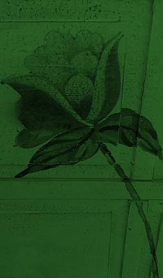 Olive Green Wood Flower Art Print by Rob Hans
