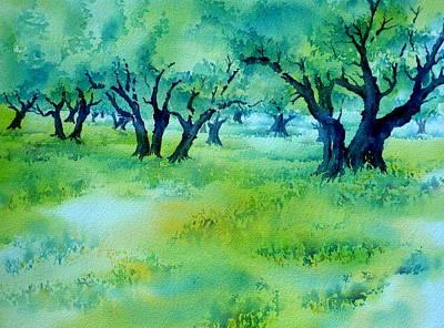 Crete Painting - Olive Grove 7 by Thomas Habermann