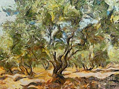 Provence Painting - Olive Grove by Dragica  Micki Fortuna