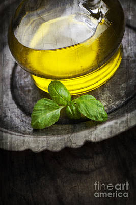Olive Oil And Basil Art Print by Mythja  Photography