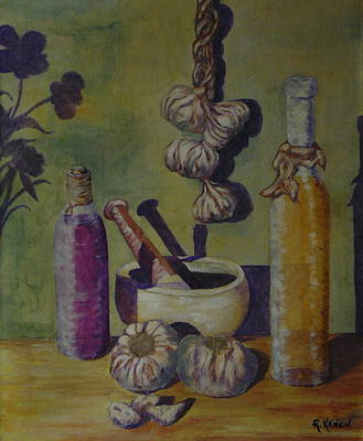 Olive Oil And Garlic Art Print by Roy Kenen