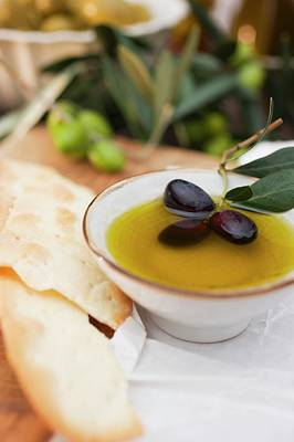 Olive Oil In Bowl With Black Olives, Crackers Beside It Art Print