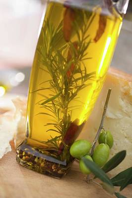 Olive Oil With Rosemary And Chillies Art Print