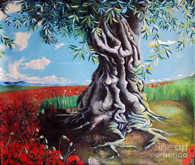 Print Of Poppy Painting - Olive Tree In A Sea Of Poppies by Alessandra Andrisani