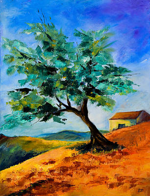 Nature Oil Painting - Olive Tree On The Hill by Elise Palmigiani