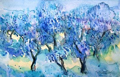 Olive Trees In A Tuscan Garden  Art Print by Trudi Doyle