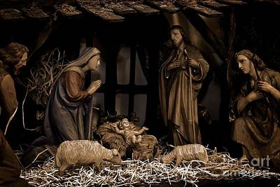 Frank J Casella Royalty-Free and Rights-Managed Images - Olive Wood Nativity  by Frank J Casella