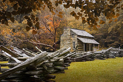Split Rail Fence Photograph - Oliver's Log Cabin During Fall In The Great Smoky Mountains by Randall Nyhof